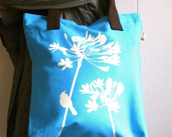 SALE Aqua Blue Cardinal on Agapanthus Shoulder Tote Bag