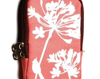 SALE Coral Pink Cardinal on Agapanthus Case