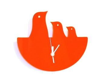 Orange Bird Nest Hanging Clock