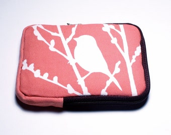SALE Coral Pink Bird on Cherry Blossom Case