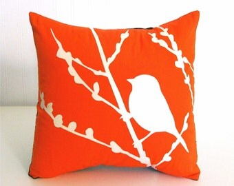 Orange Bird on Cherry Blossom - Mini 10.5 Inches Square Pillow