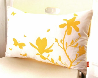 Yellow Print on Off White Cotton Magnolia and Butterfies Rectangle Pillow