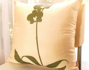 Cream Yellow Orchid Pillow 17 Inches Square