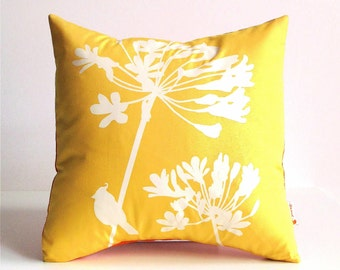 Yellow Cardinal on Agapanthus-Mini 10.5 Inches Square Pillow