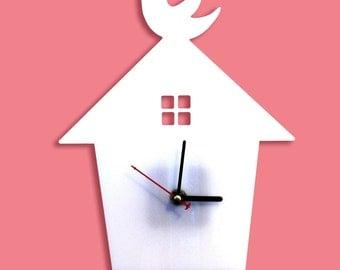White Bird House Wall Hanging Clock