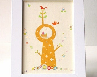 Framed Whimsical Bird Tree Print