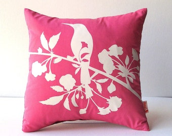 Hot Pink  Blooming Blossom-Mini 10.5 Inches Square Pillow