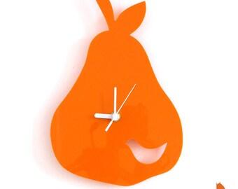 Orange Birdie in a Pear Wall Hanging Clock