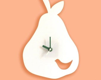 White Birdie in a Pear Wall Hanging Clock