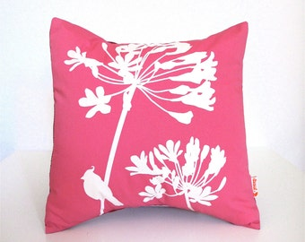 Hot Pink Cardinal on Agapanthus-Mini 10.5 Inches Square Pillow
