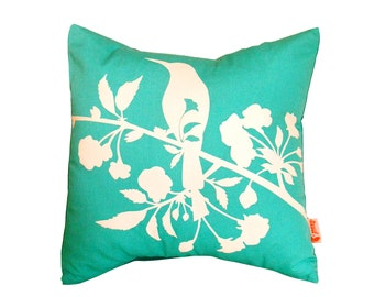 Mint Green Blooming Blossom-Mini 10.5 Inches Square Pillow