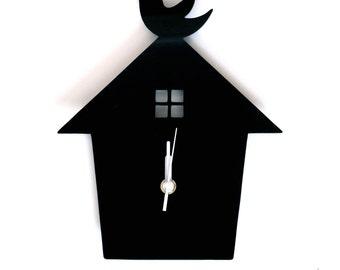 Black Bird House Wall Hanging Clock