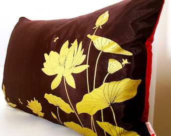 Limited Time Sale Lotus Pond Pillow with Crimson Red Velvet Backing