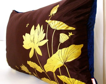 Limited Time Sale Lotus Pond Pillow with Navy Blue Velvet Backing