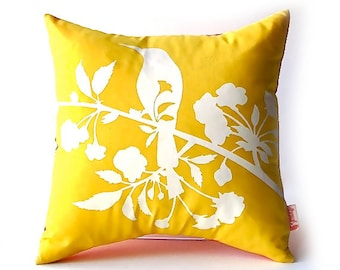 Yellow Blooming Blossom-Mini 10.5 Inches Square Pillow