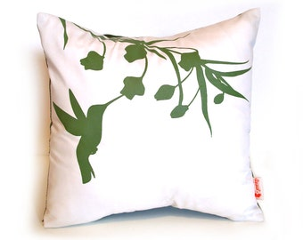 Olive Green Print on White Cotton Hummingbird with Eucalyptus - Mini 10.5 Inches Square Pillow