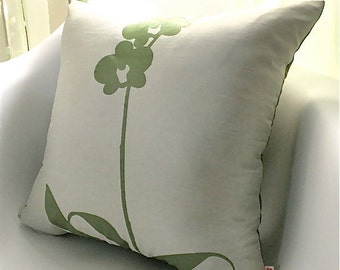 Limited Time Sale Pistachio Green Orchid Pillow 17 Inches Square