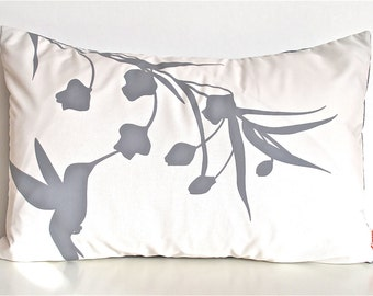 Grey Print on Off White Cotton Hummingbird with Eucalyptus Rectangle Pillow