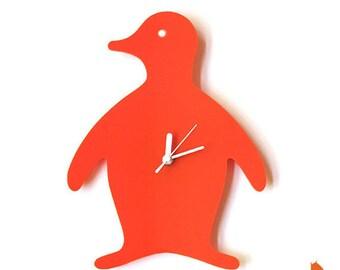 Orange Penguin Wall Hanging Clock