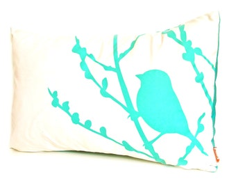 Aqua Blue Print on Off White Cotton Bird on Cherry Blossom Pillow