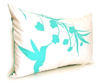 Limited Time Sale Mint Green Print on Off White Cotton Hummingbird with Eucalyptus Rectangle Pillow