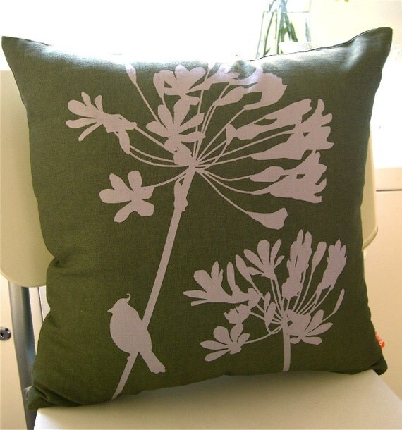 SALE Dark Olive Green Cardinal on Agapanthus 17 Inches Square Linen Pillow