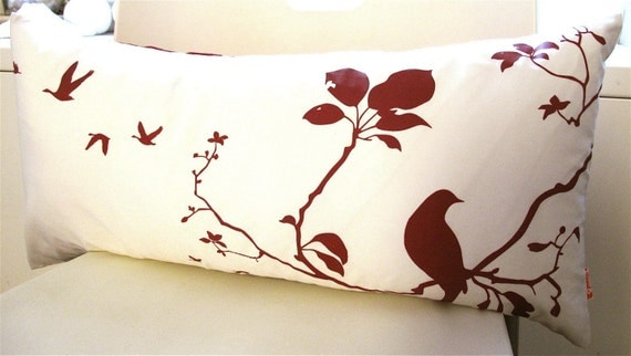 Red Print on Off white Flying By Rectangle Pillow