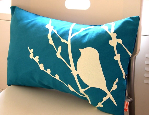 Teal Bird on Cherry Blossom Pillow