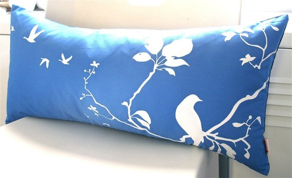 Limited Time Sale Royal Blue Flying By Rectangle Pillow