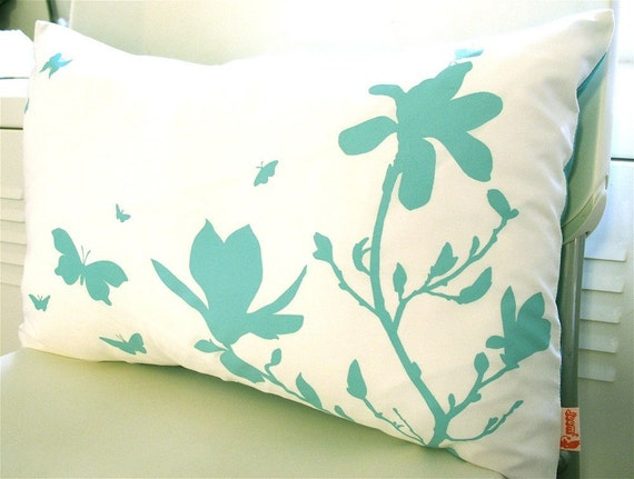 Limited Time Sale Blue Green Print on Off White Cotton Magnolia and Butterfies Rectangle Pillow