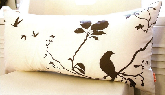 Brown Print on Off white Flying By Rectangle Pillow