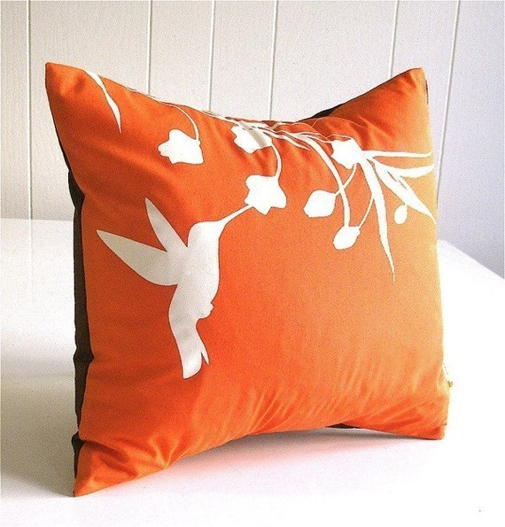 Orange Hummingbird with Eucalyptus  - Mini 10.5 Inches Square Pillow