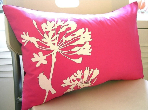 Hot Pink Cardinal on Agapanthus Rectangle Pillow