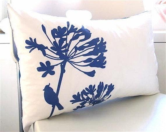 SALE Cobalt Blue Print on White Cotton Cardinal on Agapanthus Rectangle Pillow