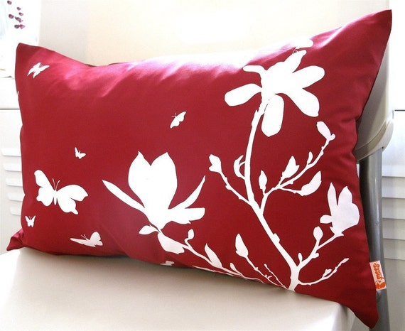 Limited Time Sale Red Magnolia and Butterfies Rectangle Pillow