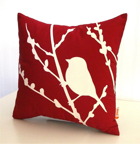 Red Bird on Cherry Blossom Mini 10.5 Inches Square Pillow ...