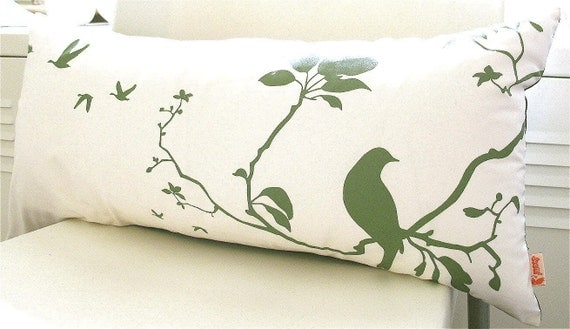 Olive green Print on Off white Flying By Rectangle Pillow