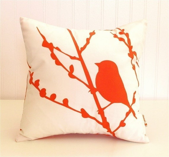 Orange Print on White Cotton Bird on Cherry Blossom - Mini 10.5 Inches Square Pillow