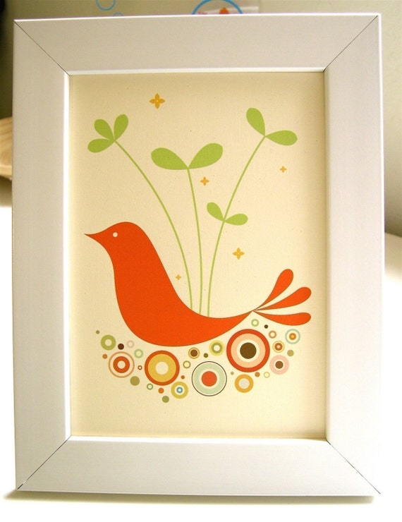 Framed Orange Tweetie Print