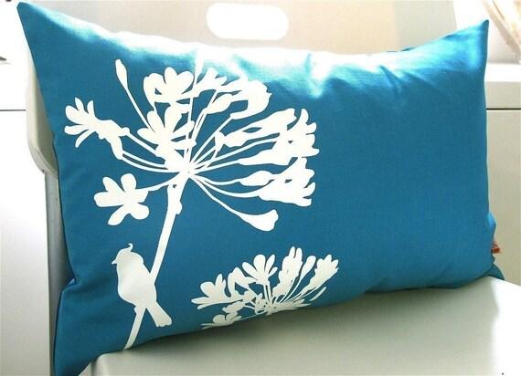 SALE-Teal Cardinal on Agapanthus Rectangle Pillow