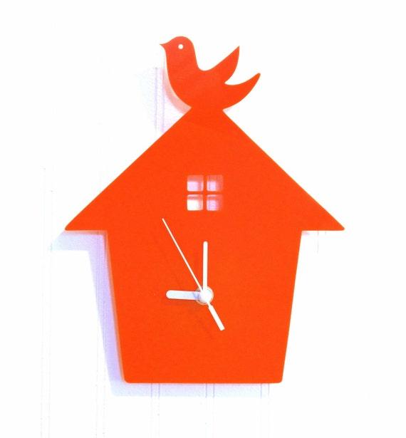 Orange Bird House Wall Hanging Clock