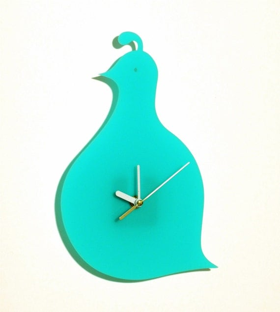 Mint Green Quail Wall Hanging Clock