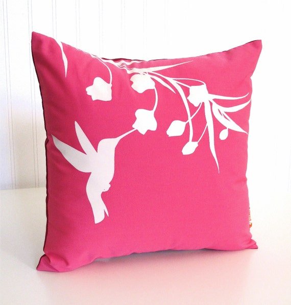 Hot Pink Hummingbird with Eucalyptus  - Mini 10.5 Inches Square Pillow
