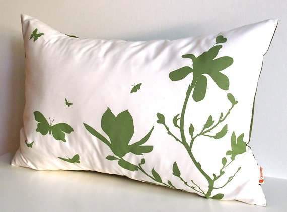 Limited Time Sale Olive Green Print on Off White Cotton Magnolia and Butterfies Rectangle Pillow