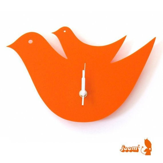 Orange Mama and a Chick Hanging Clock