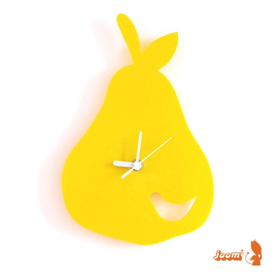 Sunny Flower Yellow Birdie in a Pear Wall Hanging Clock