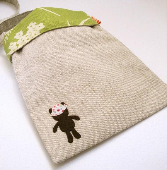 Floral and Beige Teddy Bear Sling Bag