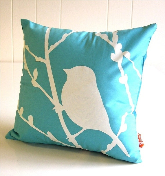 Aqua Blue Bird on Cherry Blossom - Mini 10.5 Inches Square Pillow