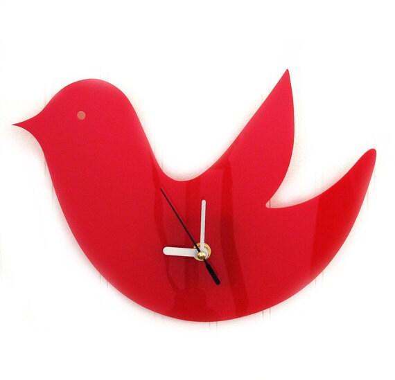 Red Birdie Wall Hanging Clock
