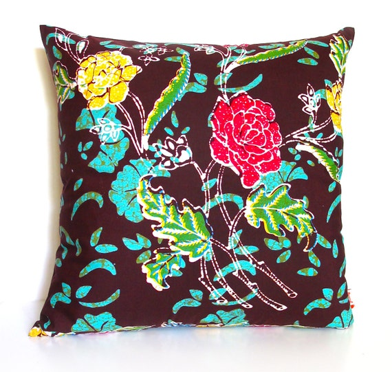 Brown and green Floral Batik Pattern 16 Inches Square Pillow Cover